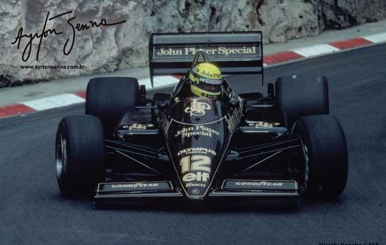 Ayrton Senna em seu Lotus, em 1985 - foto de Hiroshi Kaneko / divulgação